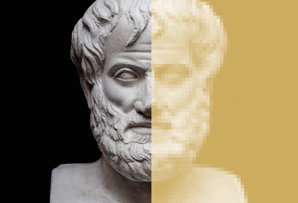 head of an Aristotle statue pixelated on the right side