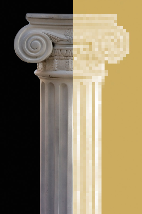 marble column pixelated in gold on the right side