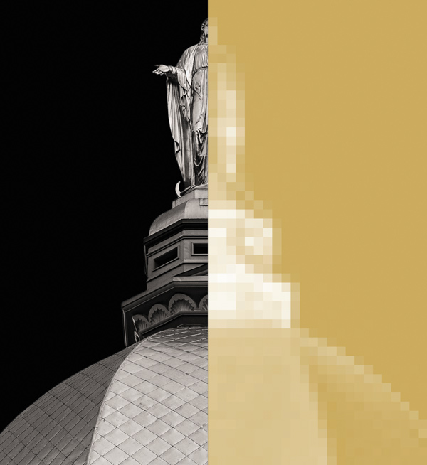 Mary statue on top of the golden dome pixelated on the right side