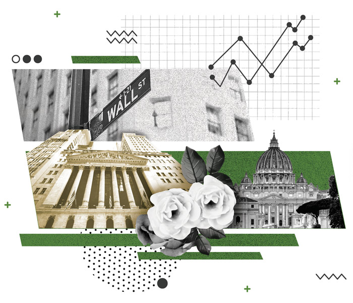 collage illustration of the wall street sign roses saint peter's basilica and the NY stock exchange