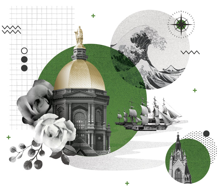 collage illustration of the golden dome, the Under the Wave off Kanagawa painting, an old ship, roses and the basilica