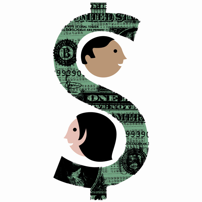 illustration of a dollar sign with two heads in the curves facing opposite ways