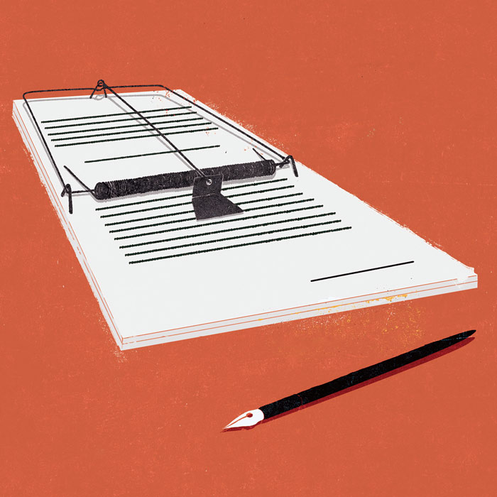 Illustration of a mouse trap with a contract over it and a pen