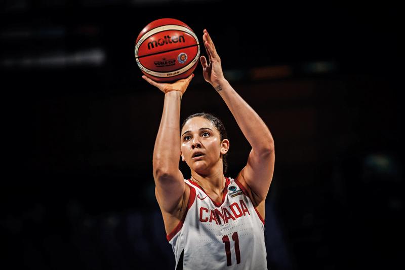 Natalie Achonwa throwing a basketball