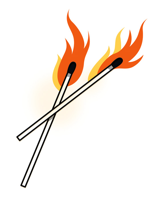 illustration of two burning matches