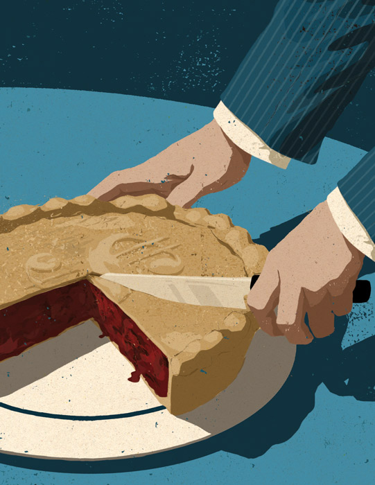 illustration of a business person slicing a pie with a dollar sign on the top
