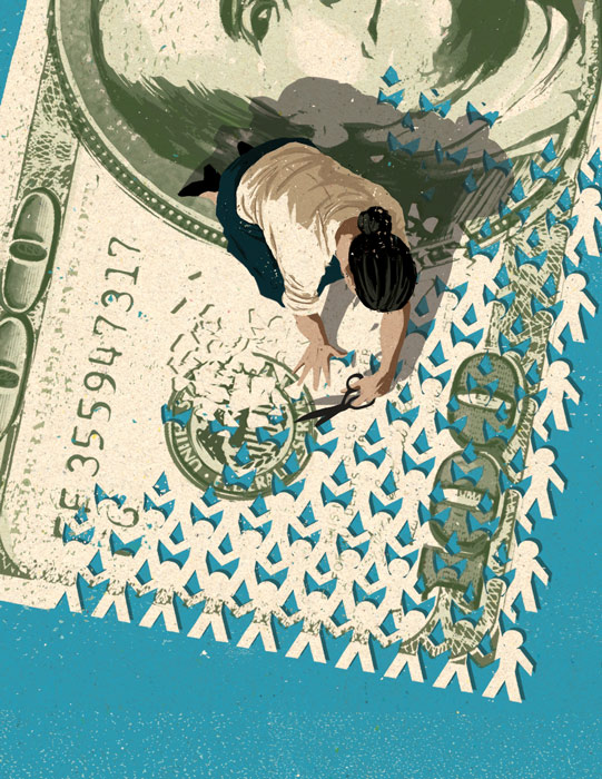 illustration of a woman cutting figures out of a 100 dollar bill