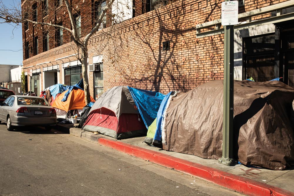 street lined with tents